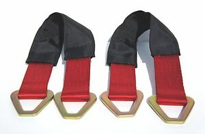 2 Red 24 Axle Straps Tie Down F Race Car Hauler Trailer Tow Truck 4x4 Off Road