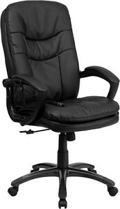 Extra Soft Double Padded Black Leather Massage Office Desk Chair