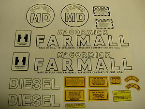 Ihc Farmall Model Super Md Tractor Decal Set New Free Shipping