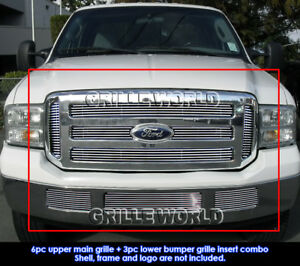 2005 2007 Ford Excursion F250 F350 F450 F550 Billet Grille Combo Insert