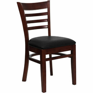 Wood Frame Mahogany Finish Ladder Back Restaurant Chair Black Vinyl Seat