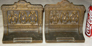 Antique B H Bradley Hubbard Speak No Evil Monkey Art Statue Cast Iron Bookends