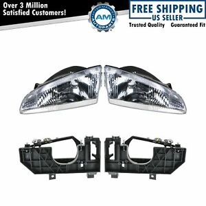 Headlights Headlamps Brackets Left Right Pair Set For 95 97 Dodge Intrepid