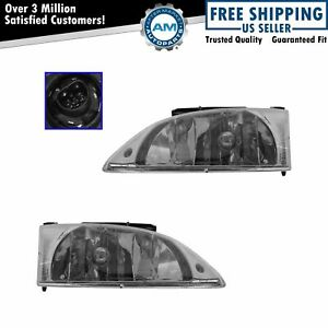 Headlights Headlamps Left Right Pair Set New For 00 02 Chevy Cavalier