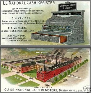 National Cash Register Dayton Ohio French 100 Yrs Victorian Advertising Card