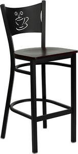 Metal Restaurant Coffee Shop Barstool With Mahogany Wood Seat