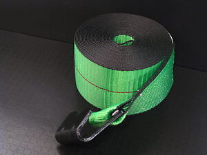 18 Green 4 X 30 Winch Straps Flat Hook Flatbed Truck Trailer Tie Down Strap Fh