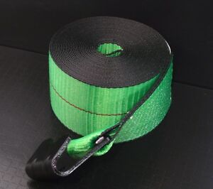 10 Green 4 x30 Winch Straps Flat Hook Flatbed Truck Trailer Tie Down Strap Fh