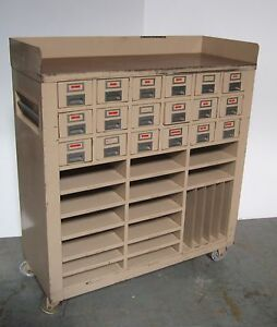 18 Drawers Tool Parts Storage Cabinet Industrial Wheels Rolling Shelves Vintage