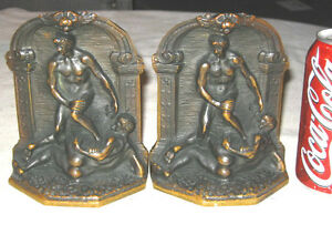 Victorian Art Nouveau Antique Usa Nude Bronze Men Art Statue Sculpture Bookends