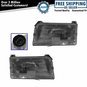 Headlights Headlamps Left Right Pair Set New For Ford F series Pickup Truck
