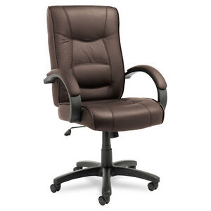 Lot Of 6 Brown Leather High Back Conference Room Office Chairs With Padded Arms