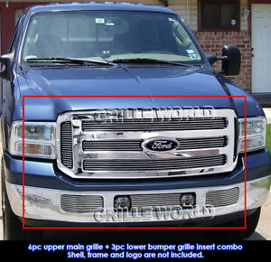 Fits 2005 2007 Ford Excursion F250 F350 Sd Billet Grille Insert Combo