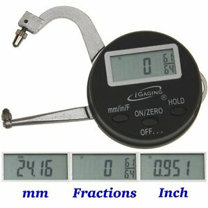 Digital Electronic Thickness Gage 0 1 25mm Micrometer Caliper Inch mm fractions