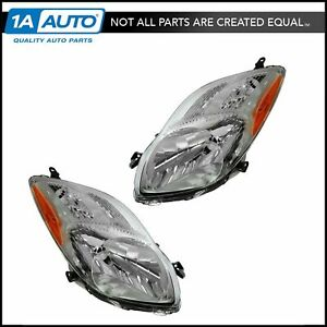 Headlight Headlamp Left Right Pair Set For 09 11 Toyota Yaris Hatchback