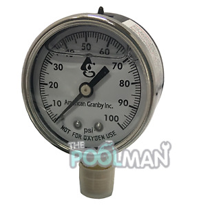 Water Well Pump Liquid Filled Side Mount Pressure Gauge 0 To 100 Psi 1 4 Mnpt