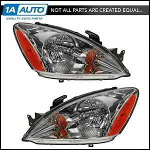 Headlights Headlamps W Chrome Background Left Right Pair Set For 04 07 Lancer