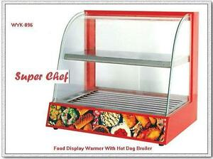 Heated Glass Food Display Warmer Case Egg Rolls Tamales Hot Dog Roller Machine