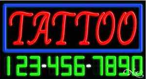 New tattoo W your Phone Number 37x20 Real Neon Sign W custom Options 15107