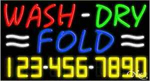 New wash dry Fold W your Phone Number 37x20x3 Neon Sign W custom Options 15118