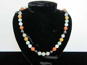 Vintage Chinese Muti Colored Jade Bead Necklace