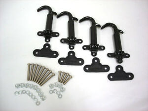 1928 1929 Ford Model A Black Hood Latches W Pads Screws Kit Set Of 4 Latch