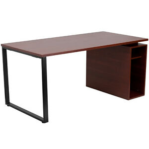 Mahogany Computer Desk With Open Storage Pedestal Small Compartment 5 5 h
