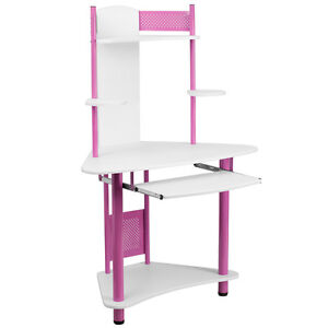 Pink Corner Computer Desk With Hutch Top Shelf With Protective Siding