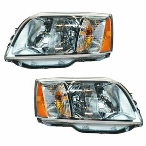 Headlights Headlamps Left Right Pair Set For 04 08 Mitsubishi Endeavor