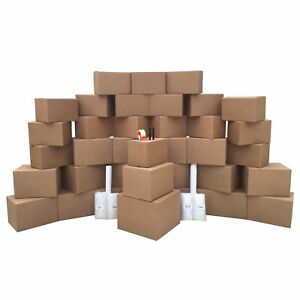 36 Moving Boxes 2 Room Basic Moving Kit Tape Bubble Packing Paper