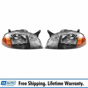 Headlights Headlamps Left Right Pair Set New For 98 01 Geo Metro Firefly