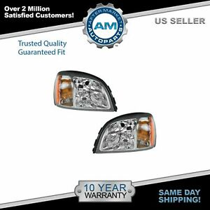 Headlights Headlamps Left Right Pair Set New For 00 02 Cadillac Deville