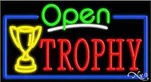 New open Trophy 37x20 Real Neon Sign W custom Options 15590