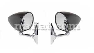 Fiat 1100 Black Bolted Side View Mirror Set New