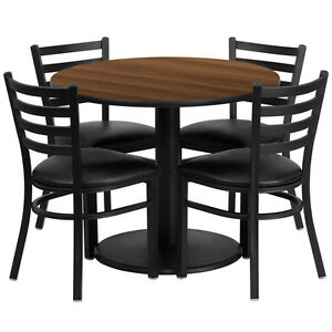 Restaurant Table Chairs 30 Walnut Laminate With 4 Ladder Back Metal Chairs