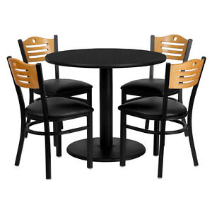 Restaurant Table Chairs 36 Round Black Laminate With 4 Wood Slat Back Metal