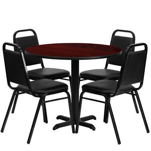 Restaurant Table Chairs 36 Black Mahogany Laminate With 4 Trapezoidal Back Bnqt