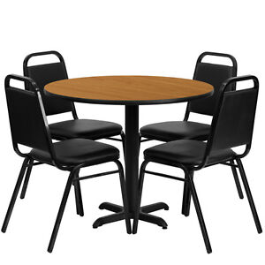 Restaurant Table Chairs 36 Natural Laminate With 4 Black Trapezoidal Back Bnqut