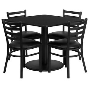 Restaurant Table Chairs 36 Black Laminate With 4 Ladder Back Meta Vinyl Seat