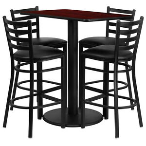 Restaurant Table Chairs 24 x42 Mahogany Laminate With 4 Ladder Metal Barstool