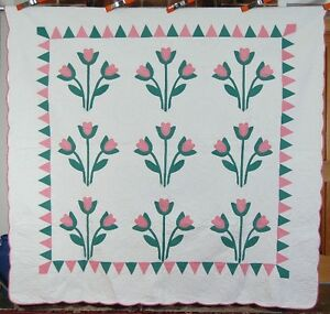 Large 30 S Vintage Carolina Lily Antique Quilt Sawtooth Border Great Quilting