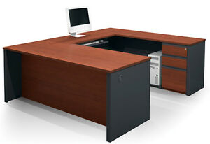 Bestar Prestige U Desk With Pedestal In Bordeaux Graphite 99880 1539