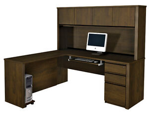 Bestar Prestige L Desk With Pedestal In Chocolate 99881 1569