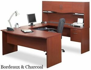 Bestar Harmony Collection 52411 U Shape Computer Workstation Bordeaux Charcoal