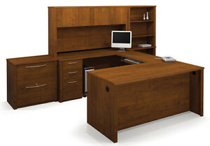 Bestar Embassy Tuscany Brown U Shaped Executive Office Desk With Lateral File