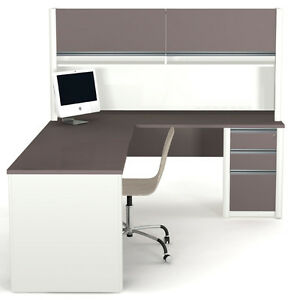 Bestar Connexion L Shape Office Desk W Pedestal In Sandstone Slate