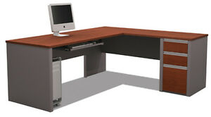 Bestar Connexion L Shape Office Desk W Keyboard Shelf In Bordeaux