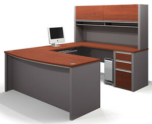 Bestar Connexion Ushape Office Desk W File Cabinet In Bordeaux