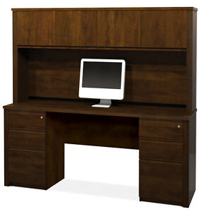 Bestar Prestige Credenza With 4 Door Hutch And Pedestals In Chocolate