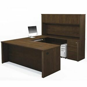 Bestar Prestige U Shape Office Desk With 2 Assembled Pedestals Chocolate